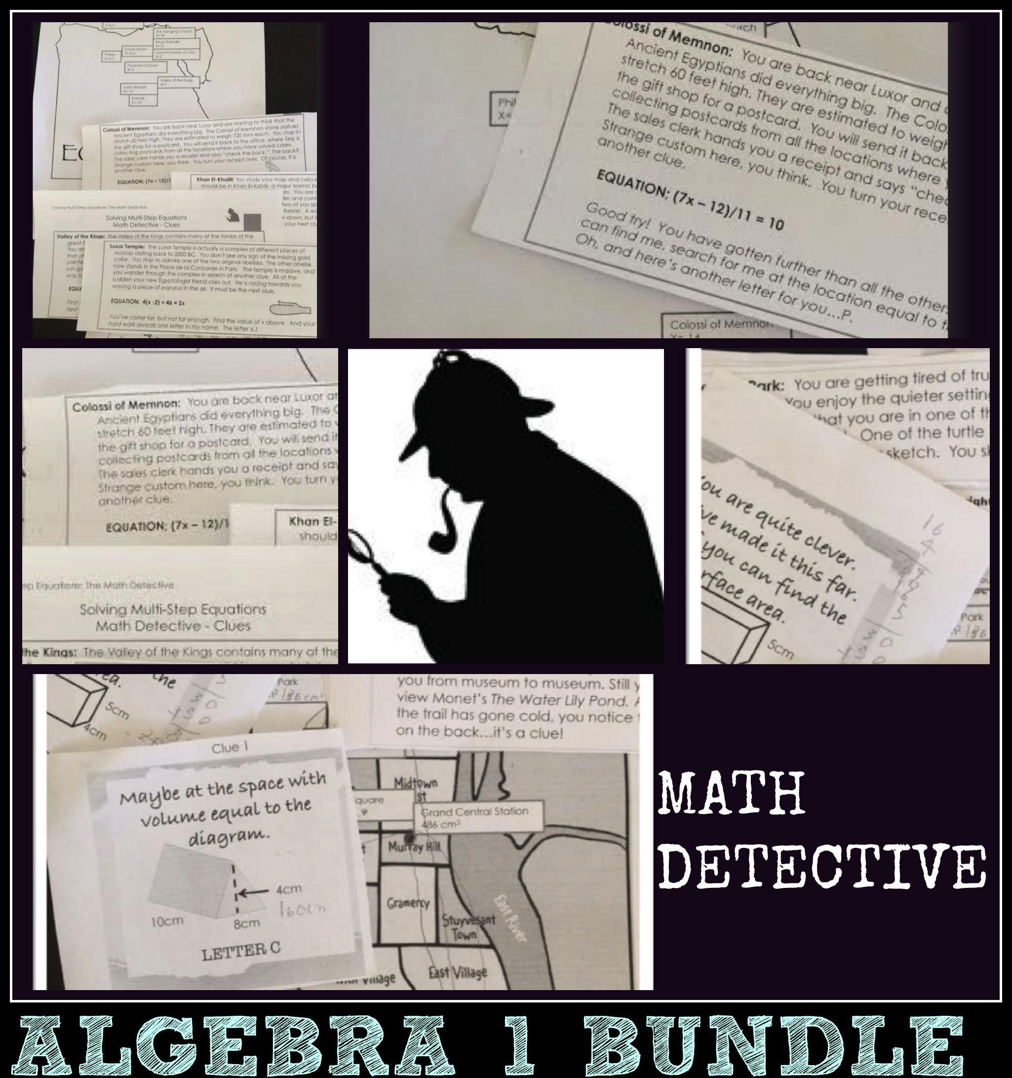 Algebra 1 Activities Bundle Math Detective 8 Topics