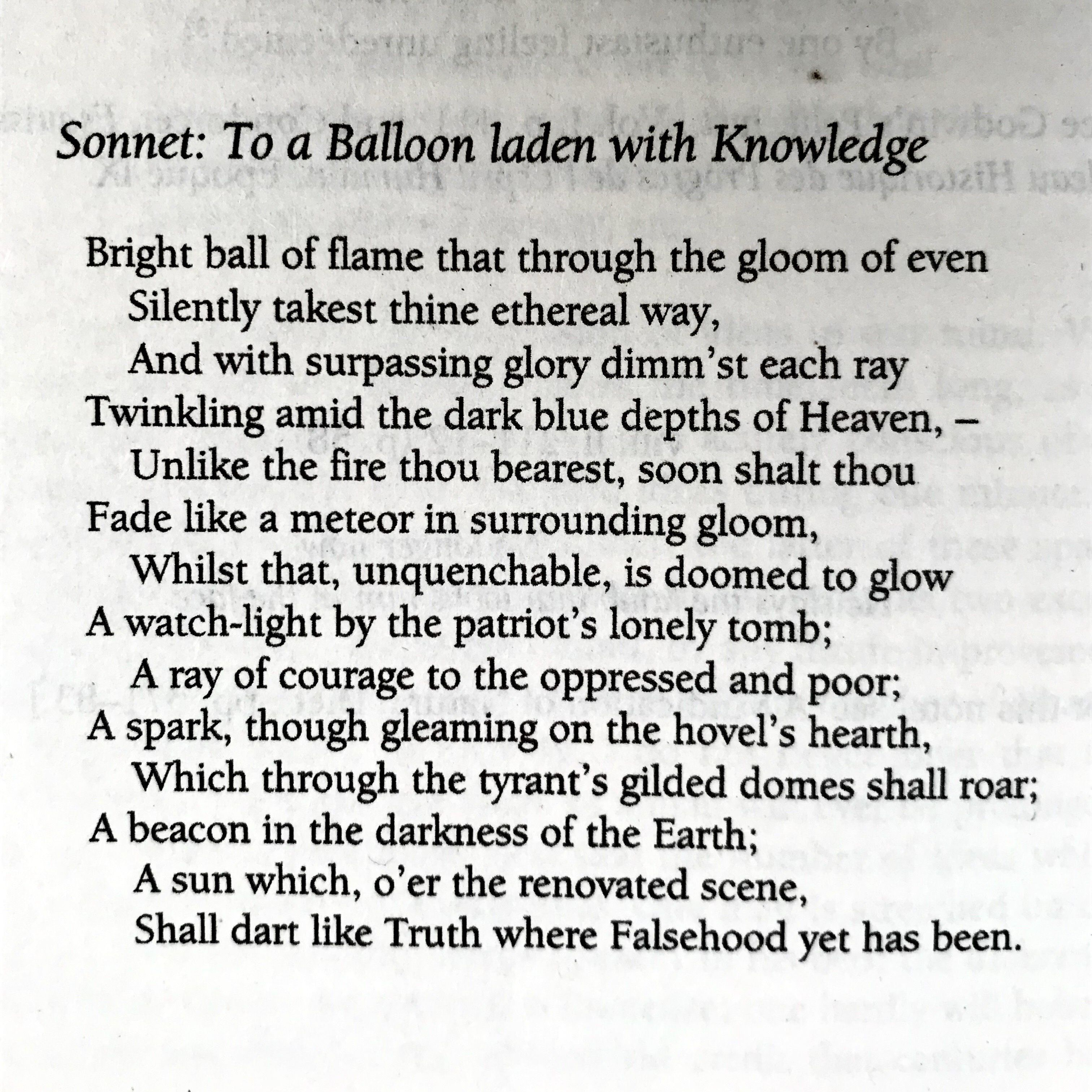 Percy Bysshe Shelley Sonnet To A Balloon Laden With Knowledge Reference The Selected Poem Of Introduction And Note By Bruce W Poetry Words Summary Ozymandia