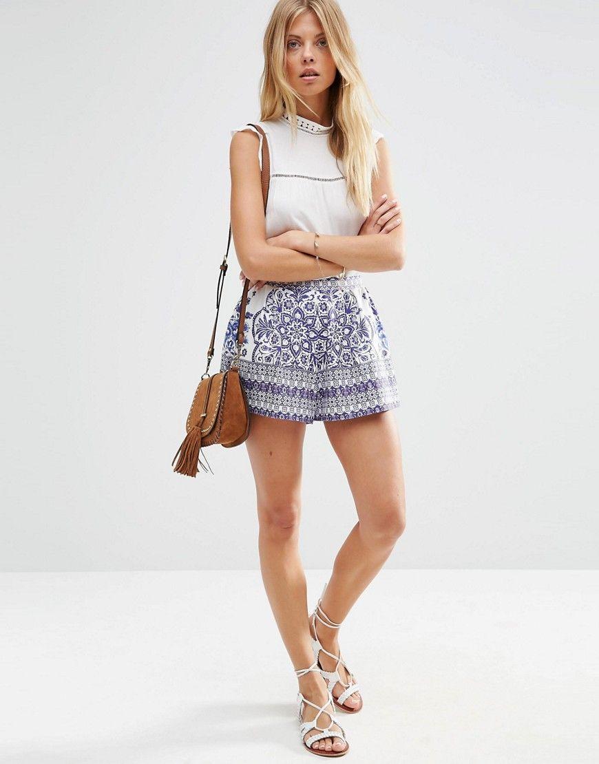 Image 1 ofASOS China Blue Print Pleated Culotte Shorts