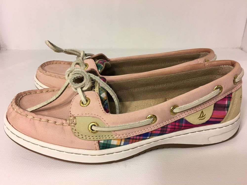 Sperry Top Sider Women's Boat Shoes Size 6.5 Black Leather Plaid