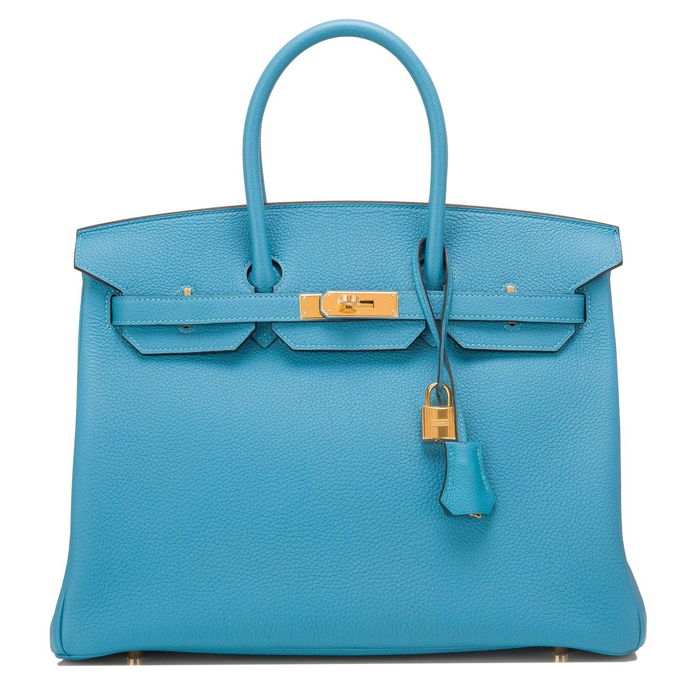 Hermes Turquoise Togo Birkin 35cm with Gold Hardware