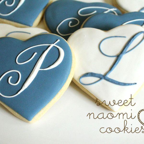 Monogrammed Heart Cookies   Cookies   Heart Cookies ...