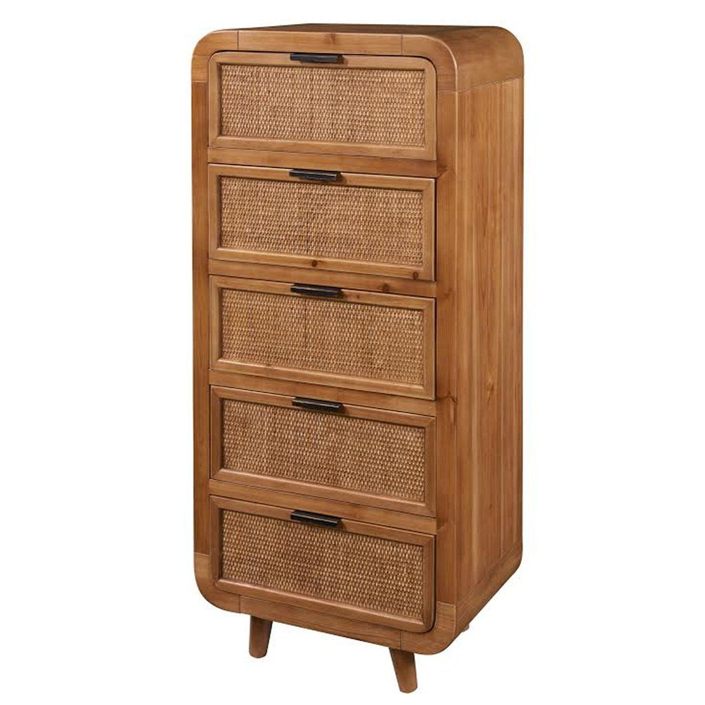 The Hazelbrook Cabinet Tall Bamboo Panels Accent Cabinet Small