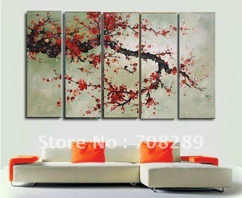 cherry blossom red oil paintings on canvas home decoration Modern