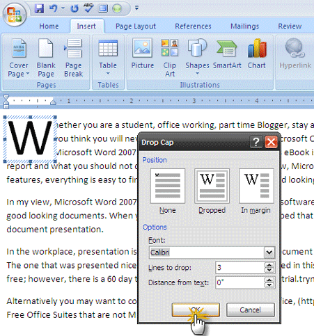 How to use drop caps to enhance your text in microsoft word how to use drop caps to enhance your text in microsoft word spiritdancerdesigns Images