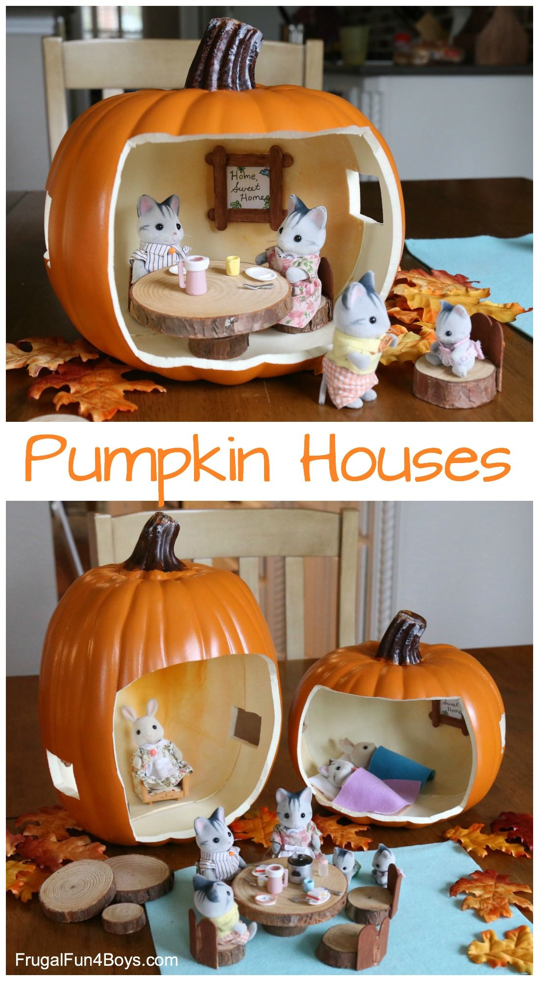 Pumpkin Doll Houses #dollhouses