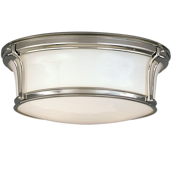 The Barnes Flush Mount Ceiling Light Opal Drum Polished Nickel Also Comes In Satin And Other Finishes