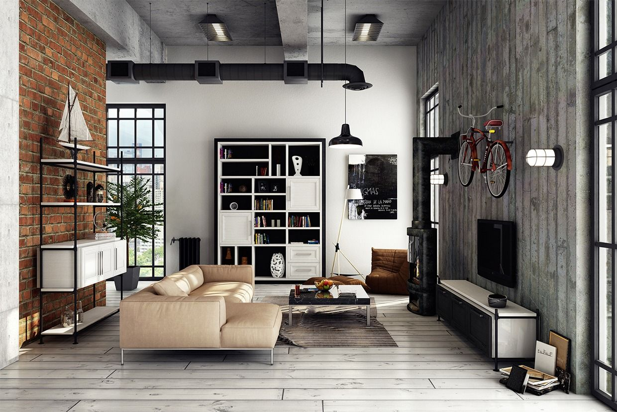 lofty design shelves wall. In the second loft  from designer Djordje Stevanovic we get more exposed brick Black and White Apartment Interior Design For Young Couple Wood