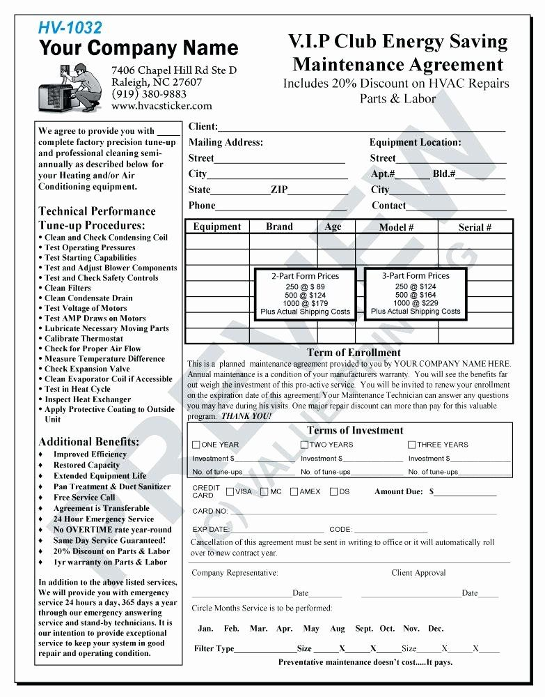 Hvac Service Contract Template in 2020 Contract template