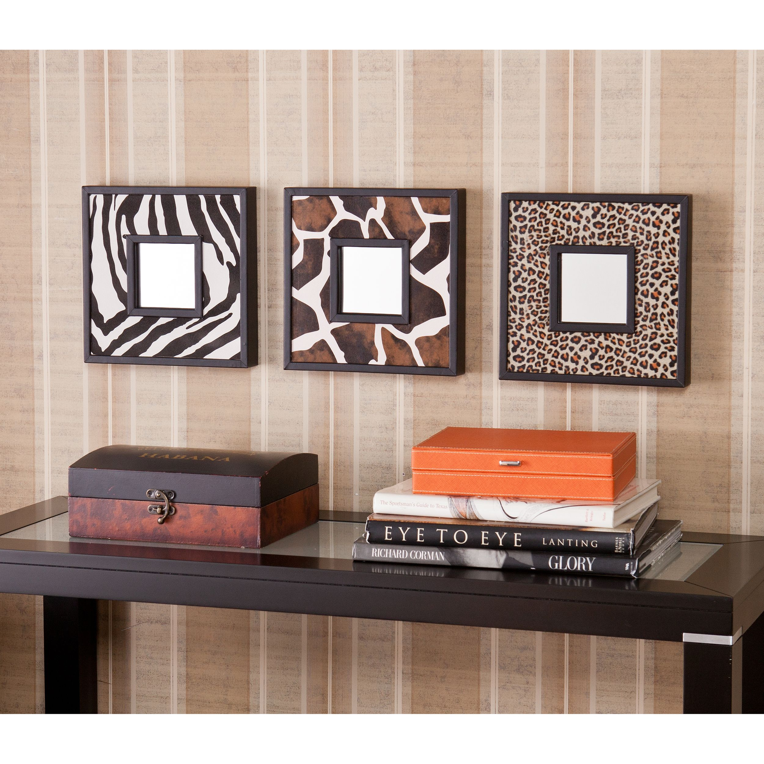 Upton home abana animal print decorative wall mirror 3 pc set upton home abana animal print decorative wall mirror 3 pc set overstock shopping amipublicfo Choice Image