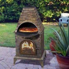 Aztec Allure Cast Iron Chiminea Pizza Oven Pizza Oven Wood Fire