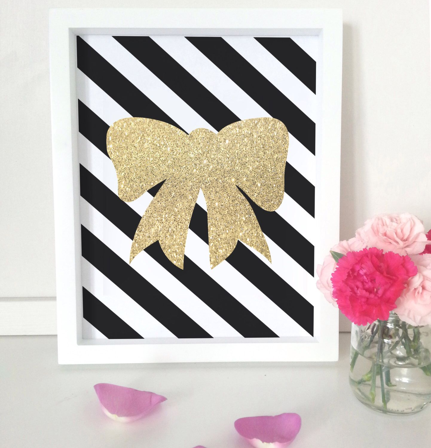 Gold glitter bow art print - black stripe art - wall decor by ...