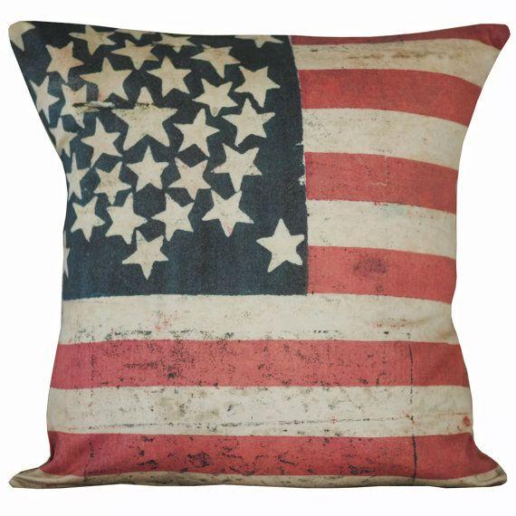 Vintage American Flag Stars Burlap Cotton Throw Pillow Cover On Etsy Stunning Burlap Star Decorative Pillow