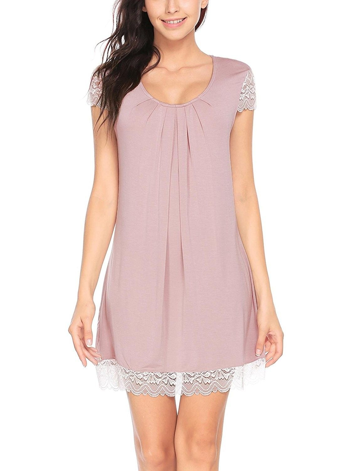 Pajama Nightgown Women Comfort Nightwear Lace Cap Sleeve Chemise ... 35b332e50