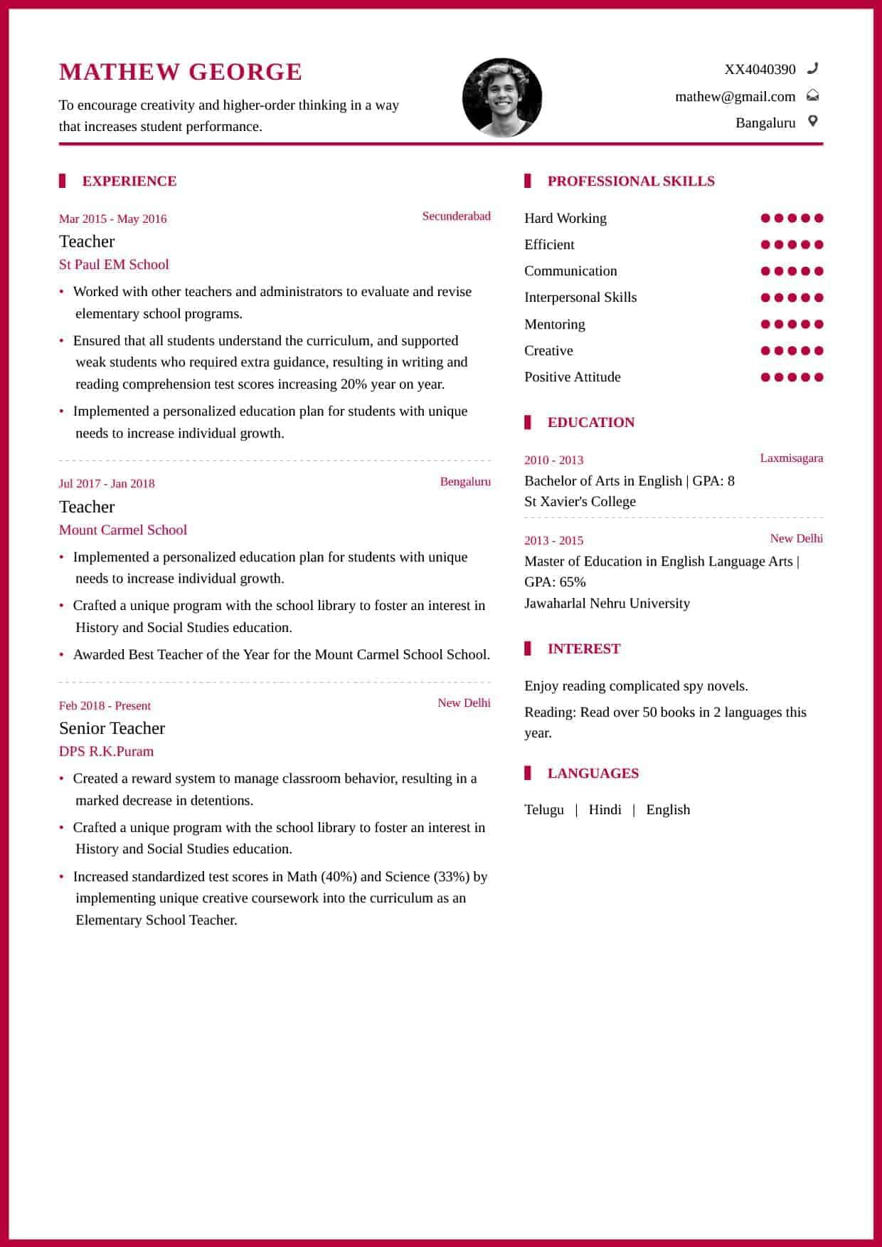 Resume Templates Teachers Teacher Education Emphasis