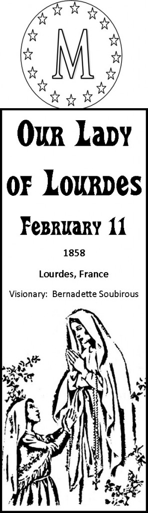 our lady of lourdes bookmark