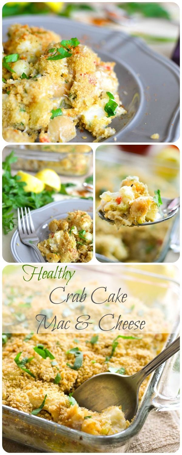 Healthy Crab Cake Mac & Cheese recipe! 21 Day Fix: 1/2 RED, 2 YELLOW, 1 GREEN, 1 BLUE