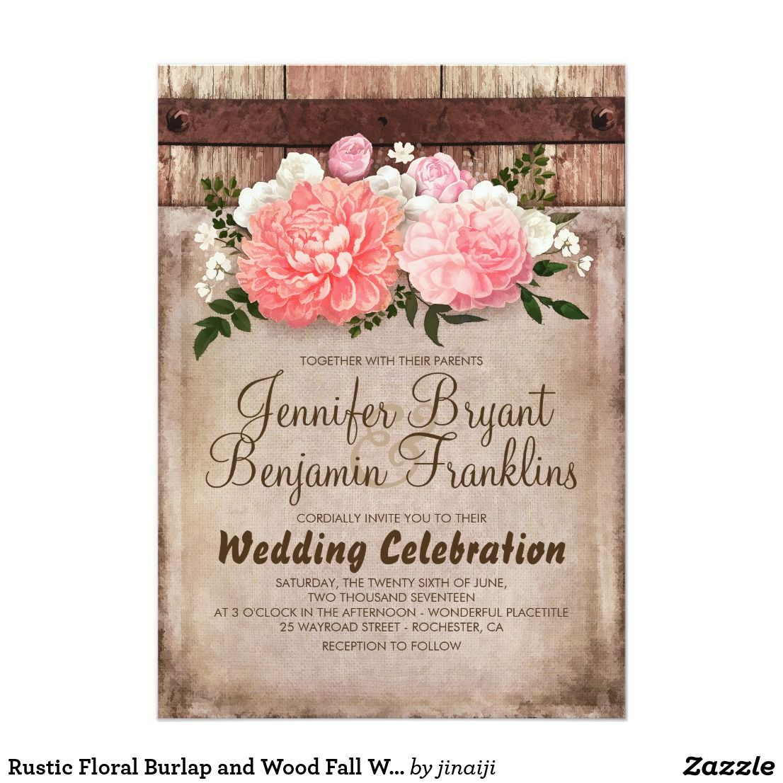 Rustic Floral Burlap and Wood Fall Wedding Invitation | Pinterest ...