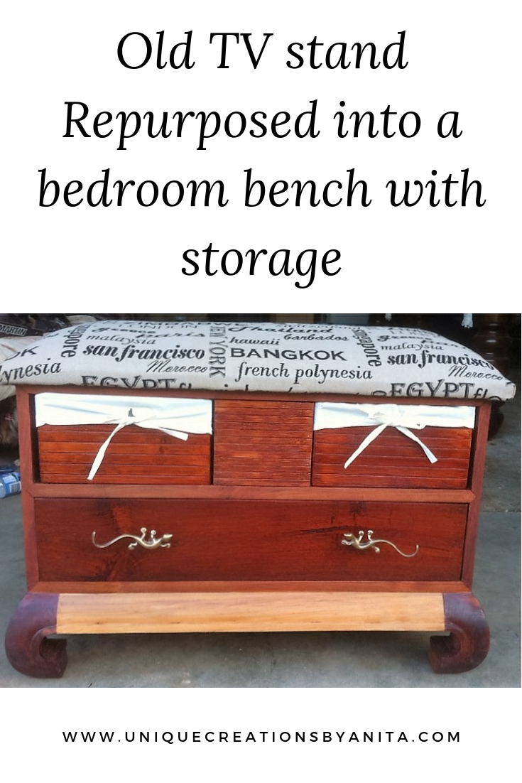 Tremendous Old Tv Stand Repurposed Into A Bench Seat With Storage Diy Caraccident5 Cool Chair Designs And Ideas Caraccident5Info