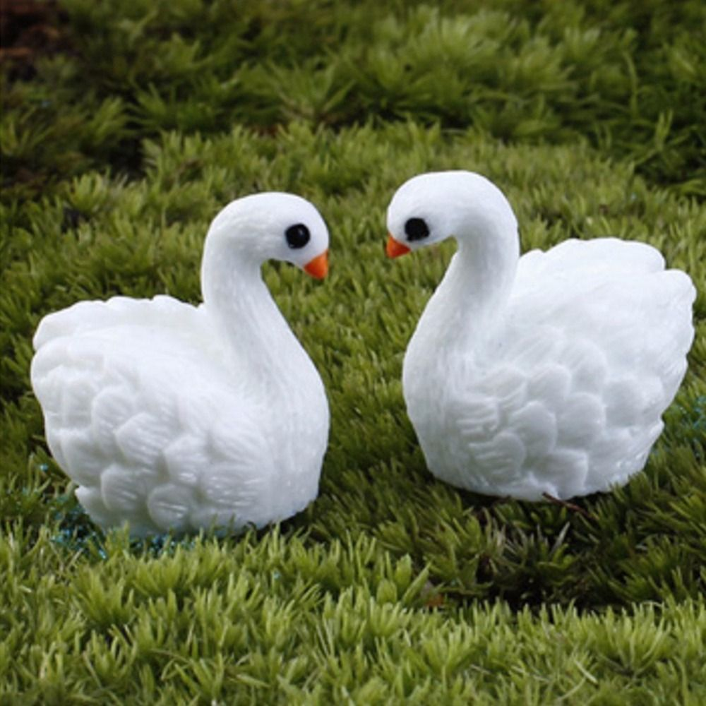 Click to buy ucuc pcs resin miniature swan ornaments decoration