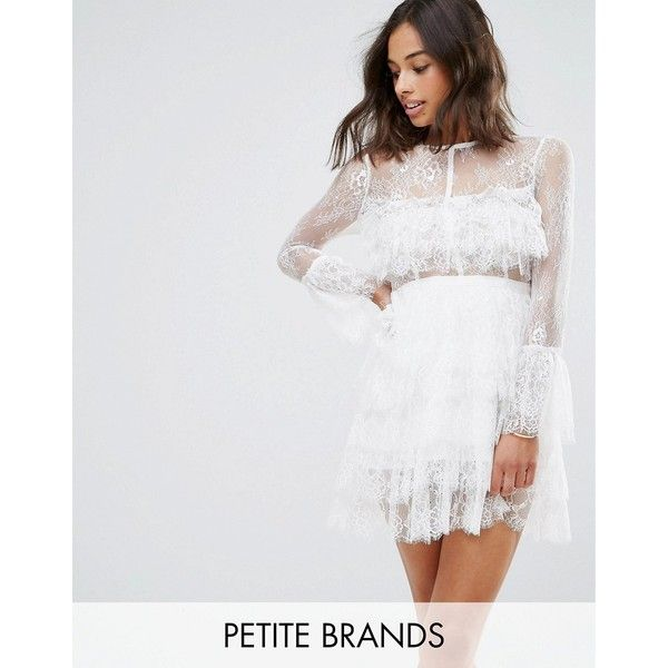 True Decadence Petite Premium Lace Ruffle Mini Dress With Sheer ...