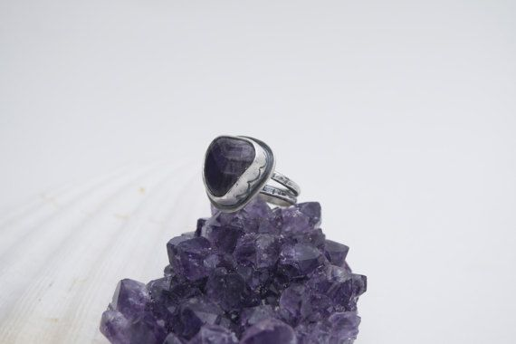 Amethyst Ring | Sterling Silver Ring Size 7 | Chevron Amethyst Ring | Mermaid Ring | Mermaid Jewelry  crystal jewelry, gemstone rings, mermaid jewelry