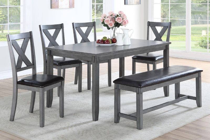 Poundex F2548 6 Pc Laurel Bridget Gray Finish Wood Dining Table Set Padded Seat Chairs And Bench Dining Table Setting Glamourous Dining Room Dining Table