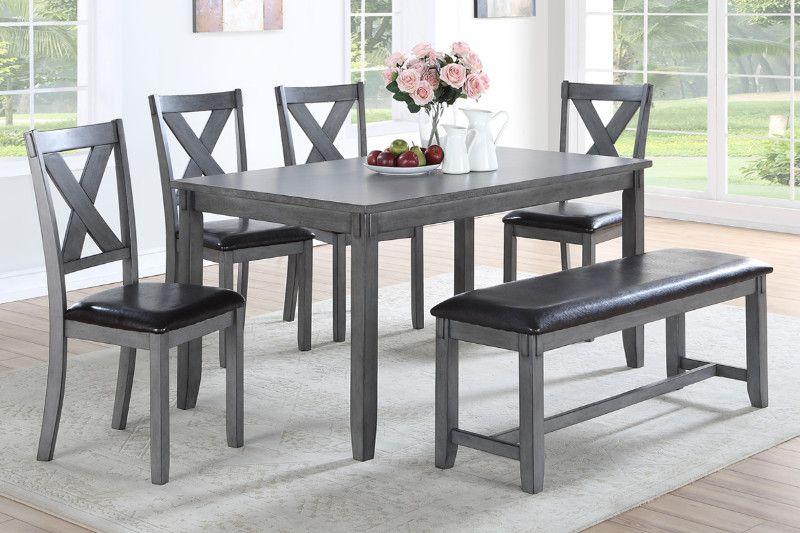 Poundex F2548 6 Pc Laurel Bridget Gray Finish Wood Dining Table