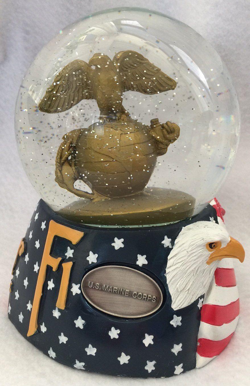 Semper Fi U.S. Marine Corps Musical Snow Globe Glitterdome