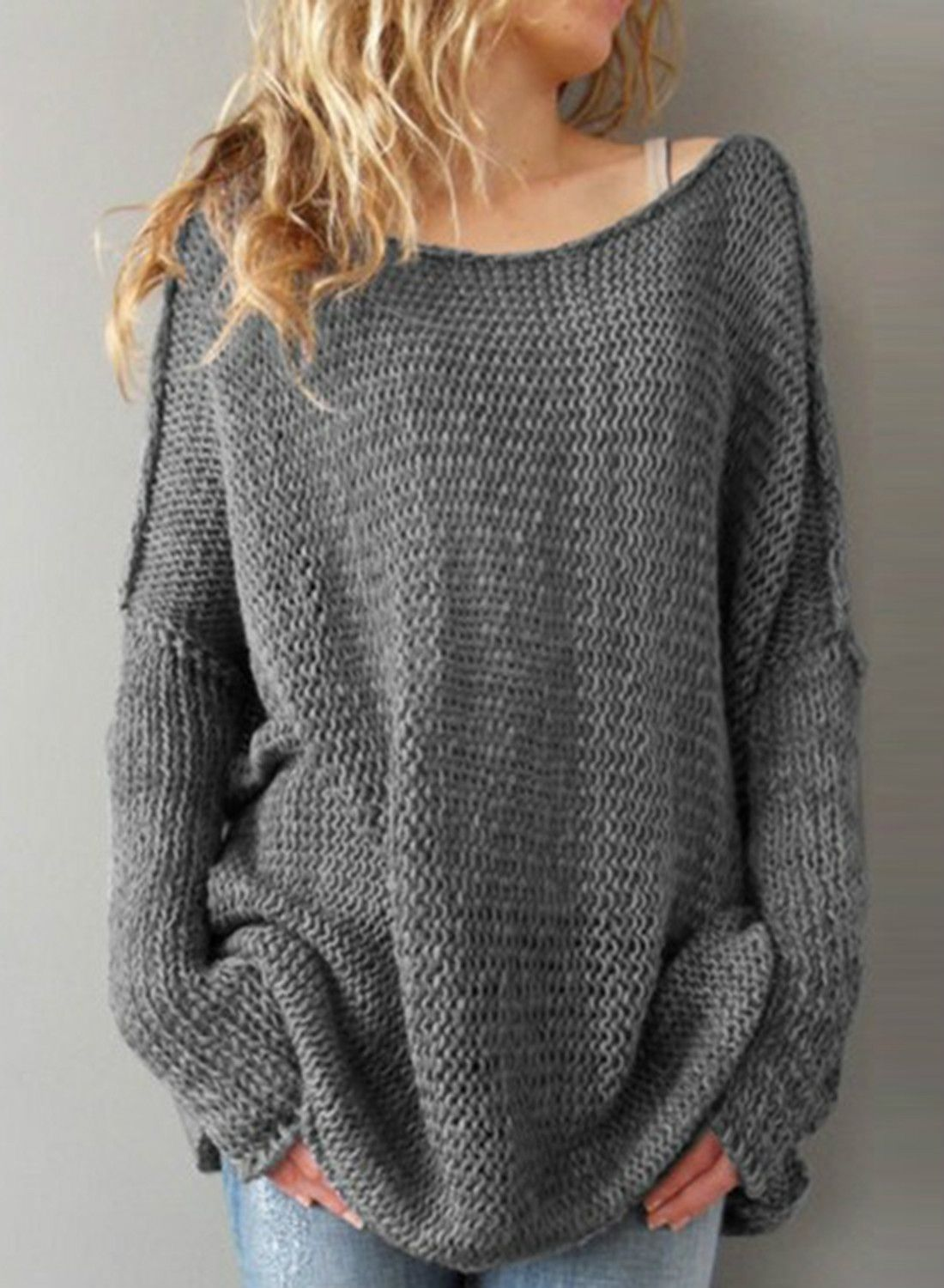 fe0fe4668 Women s Long Sleeve Solid Dropped Shoulder Loose Fit Pullover ...