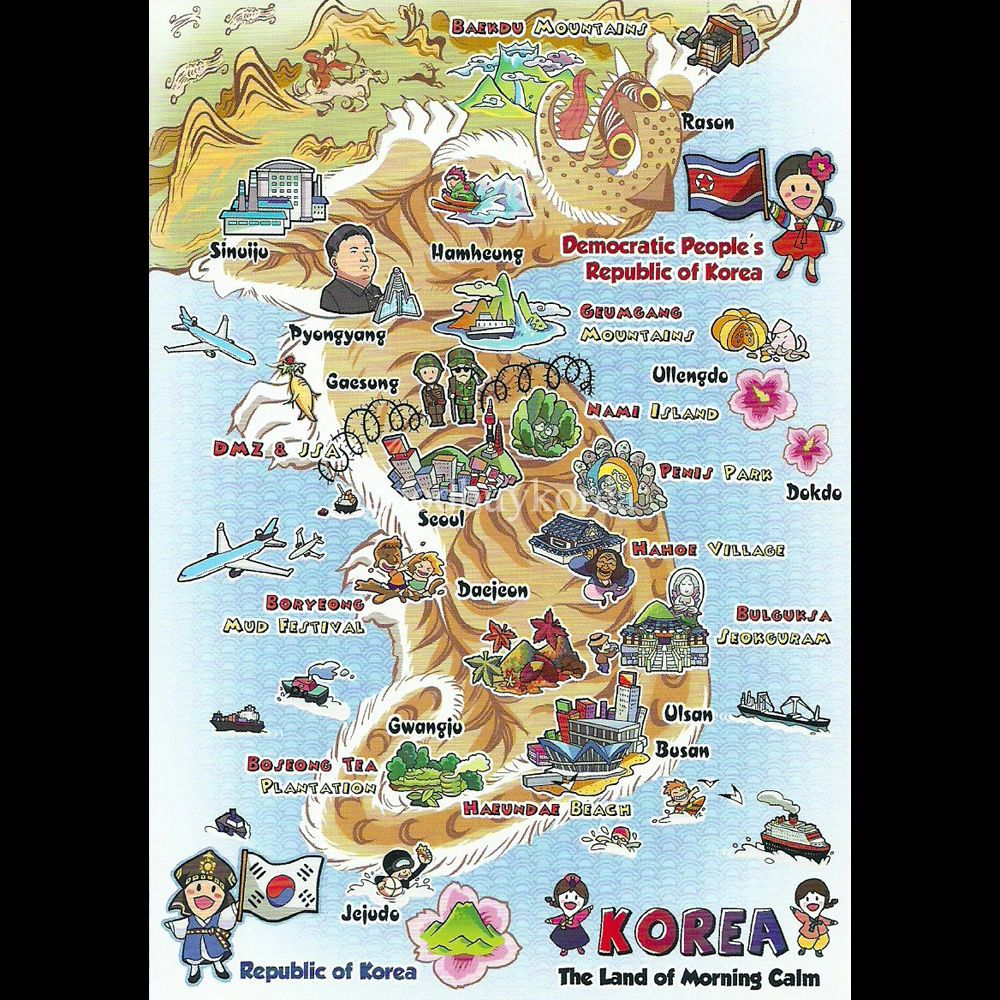 North South Korea Tourist Attraction Map Postcard Korean - Map of south korea