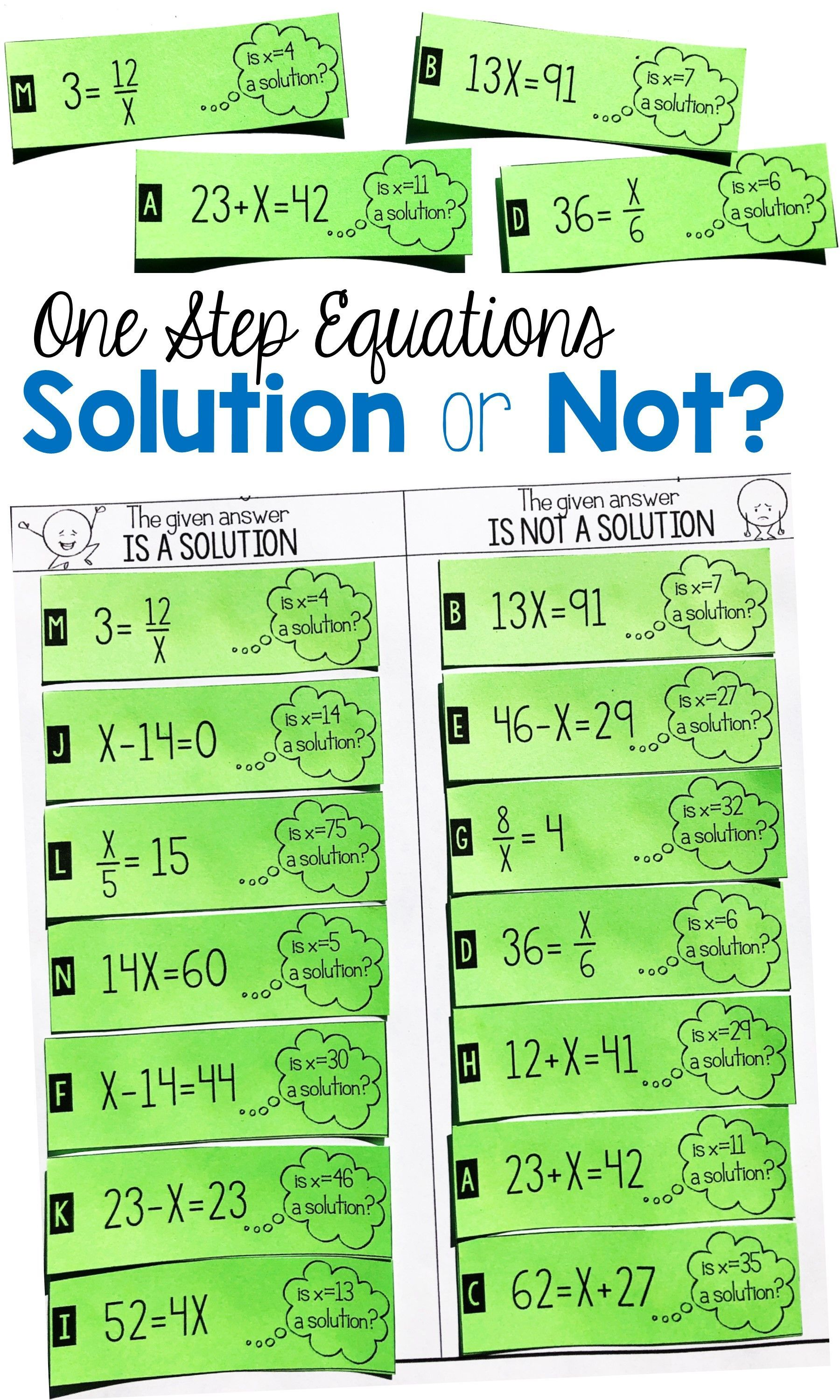This One Step Equation Solution Or Not Card Sort Activity Is The Perfect Project To Get Your 6th Grade One Step Equations Solving Equations Activity Equations Math worksheets one step equations