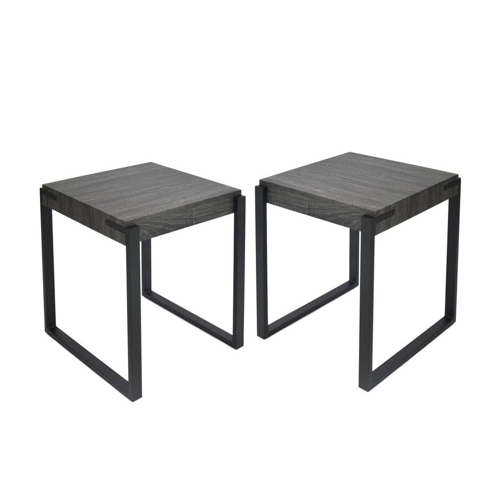 Set Of 2 Balestier Modern Contemporary End Table Black Oak Christopher Knight Home In 2020 Contemporary End Tables End Tables Faux Wood