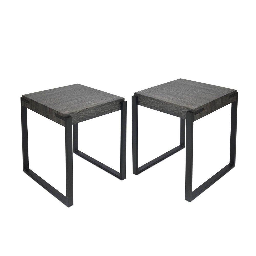 Set Of 2 Balestier Modern Contemporary End Table Black Oak