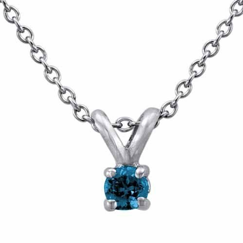 18K White or Yellow Gold Round Blue Diamond Solitaire Pendant w/18 Inch Chain
