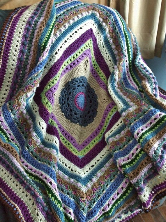 Stitch Sampler Afghan in Scraps - Crochet Afghan Throw Blanket ...