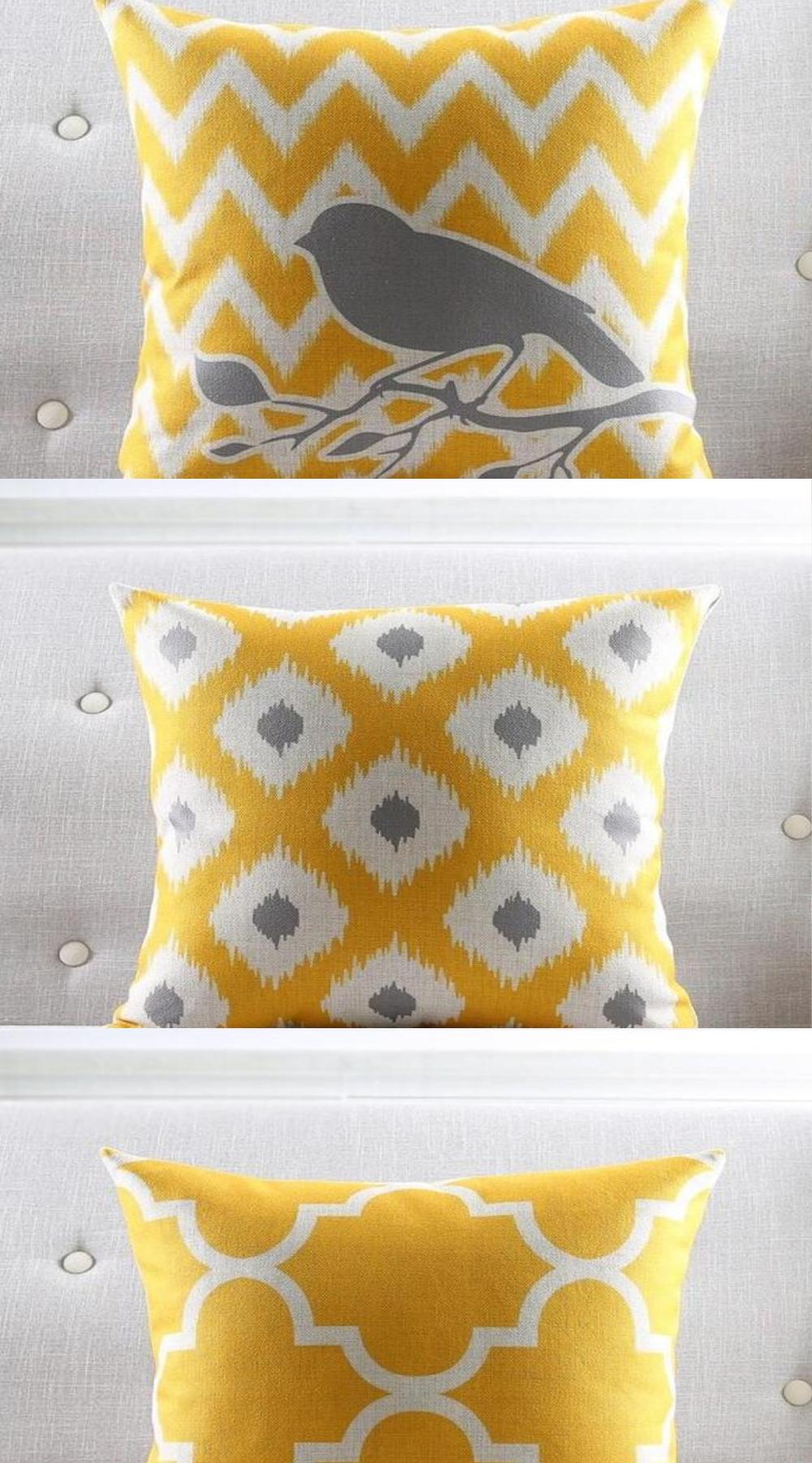 Black White Mustard Yellow Throw Pillow