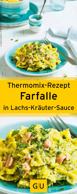 """Kochen mit dem Thermomix: Schnelles Rezept für Farfalle in Lachs-Kräuter-Sauce. Ihr findet es in der Leseprobe zum Buch """"Mix & Fertig - Schnelle Abendessen"""".⎜GU #ThermomixRezepte"""