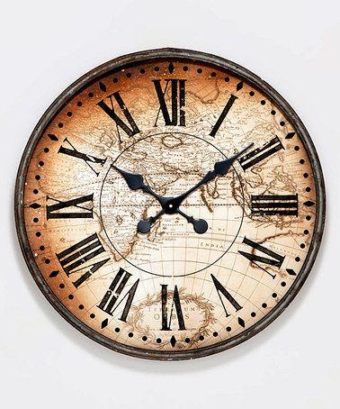 World Map Wall Clock World Clock Clock Antique Clock
