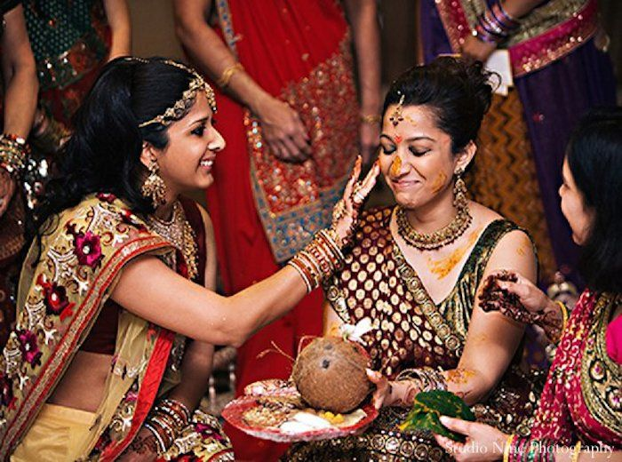 Haldi Ceremony Is A Big Part Of Indian Weddings Bride Beautified With Application