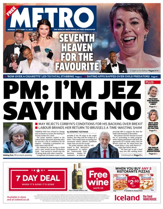 'Soft Brexit talks' and a Bafta queen Bafta winners
