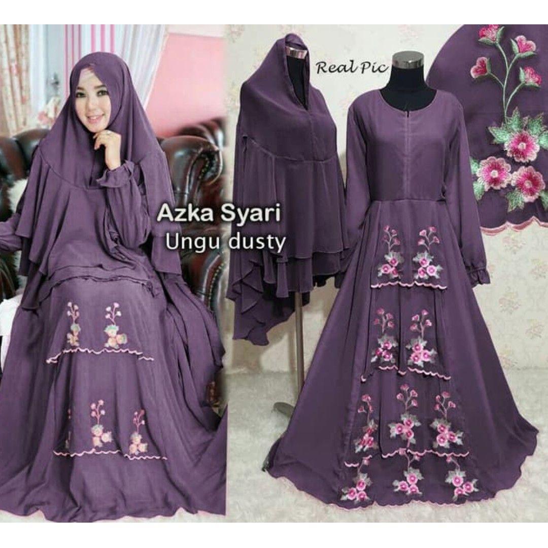 GAMIS SYARI AZKA UNGU DUSTY, Preloved Fesyen Wanita, Muslim