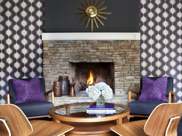 Mod Wallpaper, Stone Fireplace and Contemporary Furniture