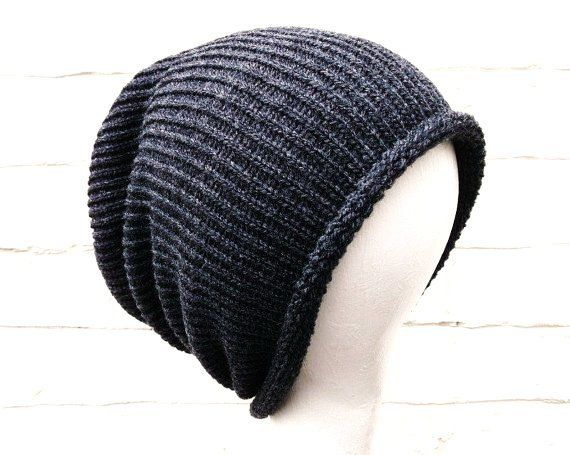 Mens Slouch Beanie Charcoal Grey Knitted Hat Fall