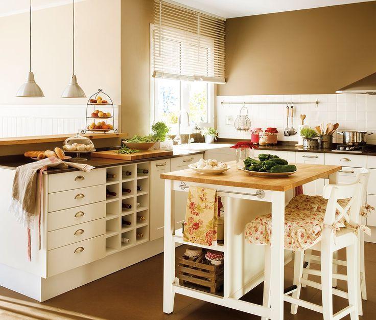 Resultado de imagen para cocinas peque as rusticas con - Isla para cocinas pequenas ...