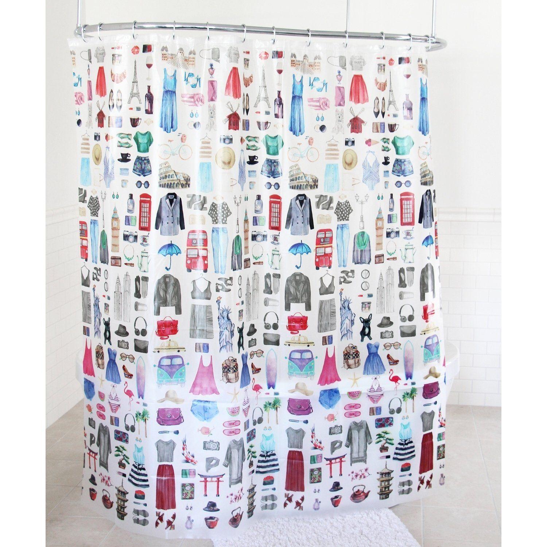 Splash Home Travel Girl Peva Shower Curtain 72 X 70 Multi