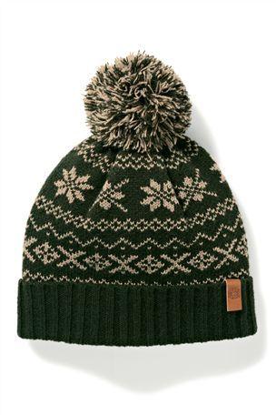 Green Fairisle Pattern Bobble Hat … | Pinteres…