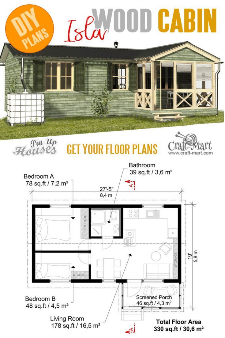 Cabin With Screened Porch Plans Small House Design Tiny House Plans Tiny House Cabin