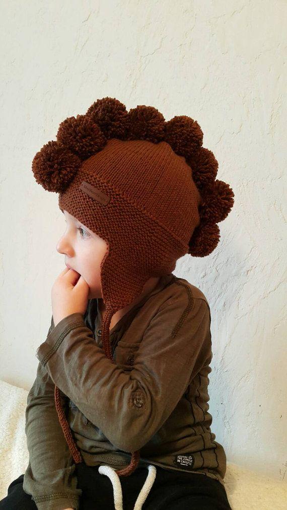 Photo of Wool hat Baby hat  Pompom hat Merino hat Knit hat Winter hat Trapper hat Knit hat Bonnet bebe Earflap hat Knitted kid hat Kindermtze Toddler