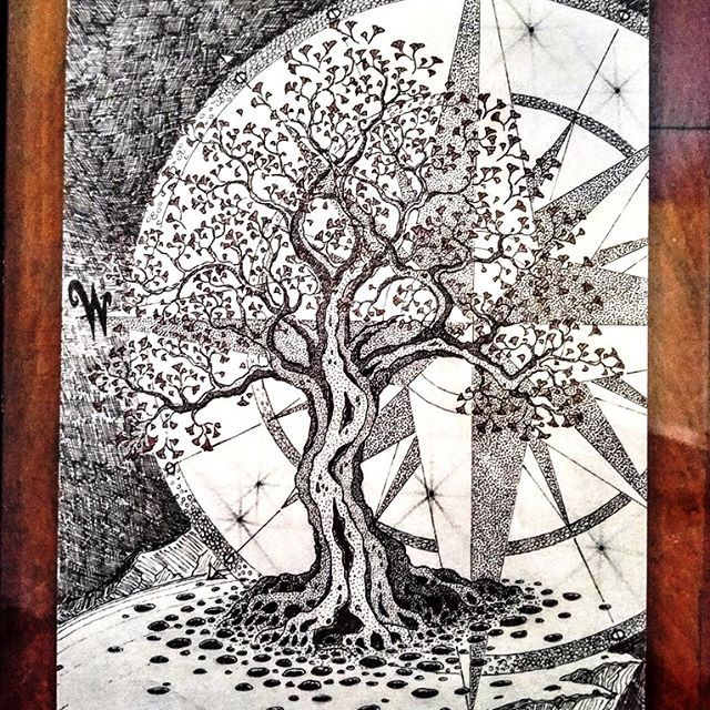 First thing I ever drew for my wife @ofiandac It is a ginkgo tree with a compass with only West labeled. A ginkgo leaf was her first tattoo, and we met at my work where she was a camp counselor who used the name Zephyr (west wind). #ginkgo #tree #west #compass #compassrose #ginkgotree #art #penandink #drawing #love #formywife #parsonswoodcraft #followforfollow #followme #handmade #oneofakind